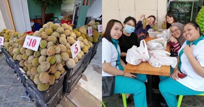 kedai durian bagikan durian gratis