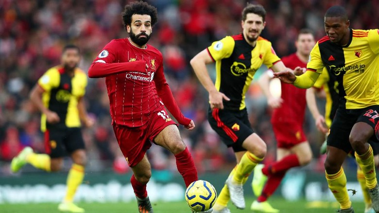 LIVERPOOL, ENGLAND - DECEMBER 14: Mohamed Salah of Liverpool in action during the Premier League match between Liverpool FC and Watford FC at Anfield on December 14, 2019 in Liverpool, United Kingdom. (Photo by Clive Brunskill/Getty Images)