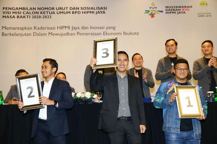 Panitia Pengarah (SC) telah menetapkan caketum HIPMI Jaya. Mereka adalah Andi Indra Hardiansyah Rukman, Noor Sona Maesana Mushonnif dan Muhamad Alipudin.