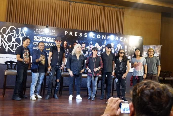 Scorpions saat jumpa pers JogjaROCKarta di Hotel Tentrem.