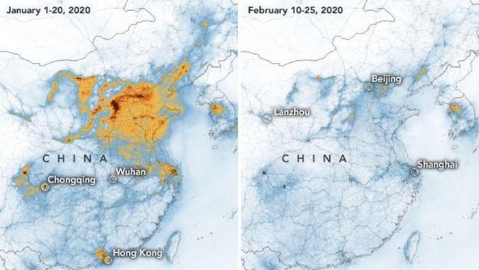 Citra polusi udara di China yang dipotret satelit NASA.