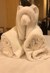 Ini handuk yang dilipat seperti beruang. (Twitter)