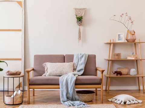 Design scandinavian home interior of living room.Beige wall. Modern home staging. Template. Japandi.