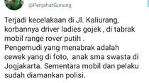 Viral di Sleman, Mobil vs Driver Ojol Perempuan