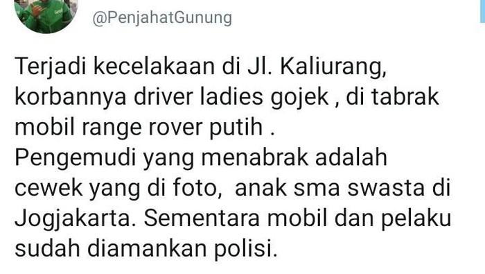 Viral mobil vs driver ojol perempuan di Sleman, Selasa (3/3/2020).