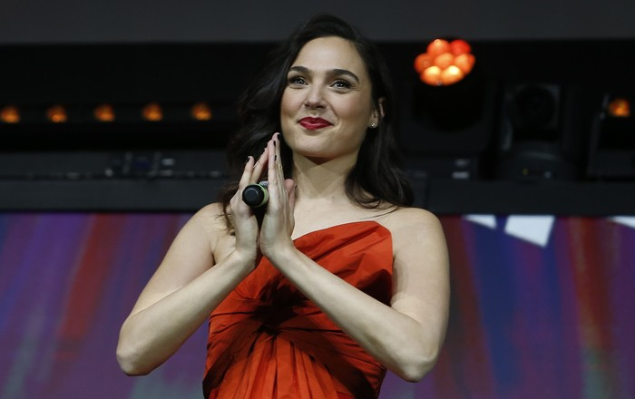 SAO PAULO, BRAZIL - DECEMBER 08: Actress Gal Gadot participates in the Warner Bros. Theatrical Panel for Wonder Woman 1984 during CCXP 2019 Sao Paulo at Sao Paulo Expo on December 08, 2019 in Sao Paulo, Brazil. (Photo by Miguel Schincariol/Getty Images)