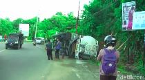 Truk Tangki LPG Terguling di Mamuju Akibat Rem Blong, Sopir Terjepit