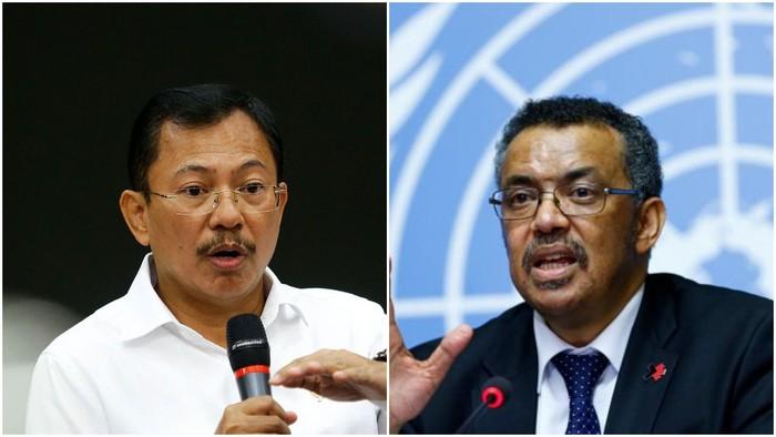 Foto ilustrasi penggambungan dua foto: Menkes Terawan dan Dirjen WHO Tedros Adhanom Ghebreyesus. (detikcom)