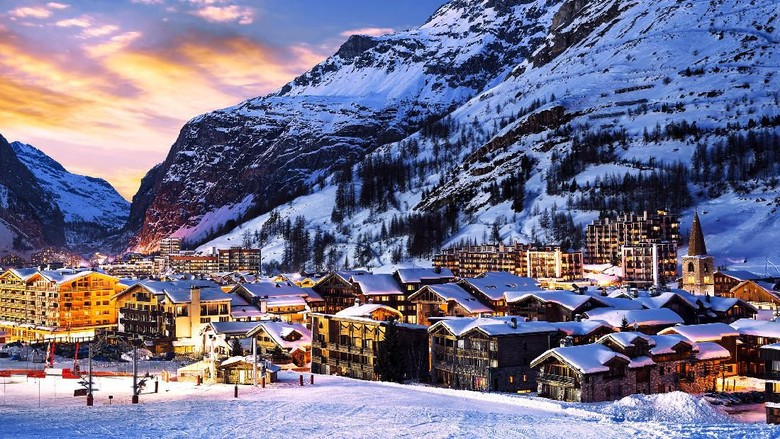 Famous and luxury place of Val dIsere at sunset, Tarentaise, Alps, France