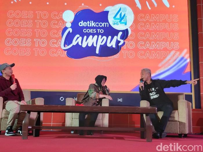 Wali Kota Surabaya Tri Rismaharini dan Gubernur Jawa Tengah Ganjar Pranowo di acara dYouthizen detikcom Goes to Campus di UNS Solo, Rabu (4/3/2020).