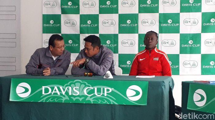 Tim Davis Cup Indonesia dan Kenya saat  jumpa pers di Jakarta, Rabu (4/3/2020).
