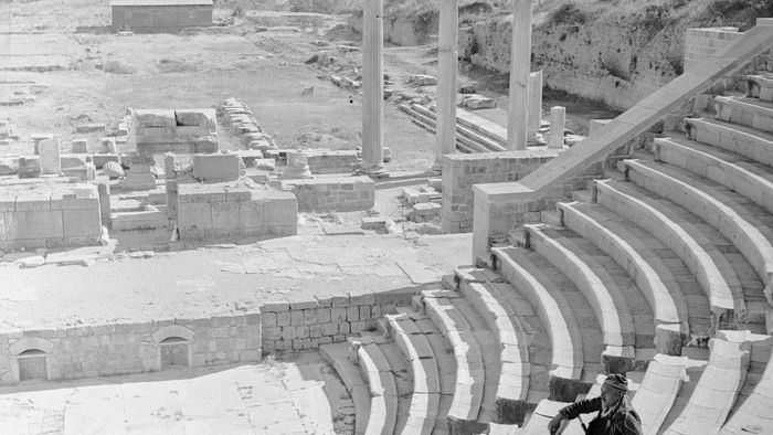 circa 1956:  The ruins of the ampitheatre of Bergama in Turkey, known as Pergamum during Roman occupation.  (Photo by Evans/Three Lions/Getty Images)