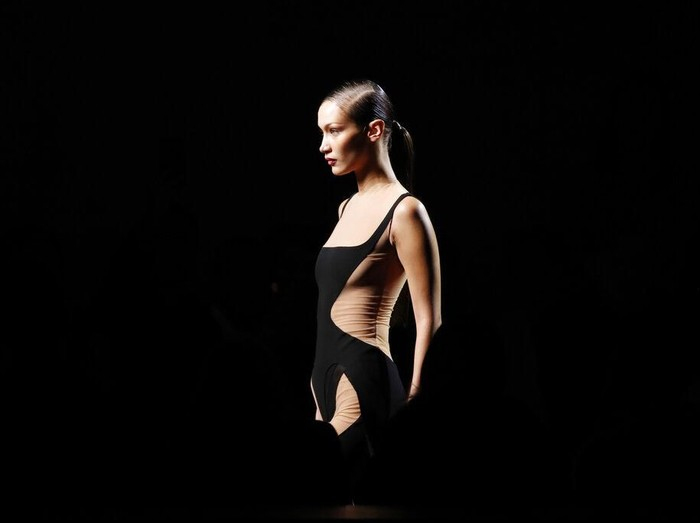 Model Bella Hadid wears a creation for Mugler fashion collection during the Womens fashion week Fall/Winter 2020/21 presented in Paris, Wednesday, Feb. 26, 2020. (AP Photo/Francois Mori)