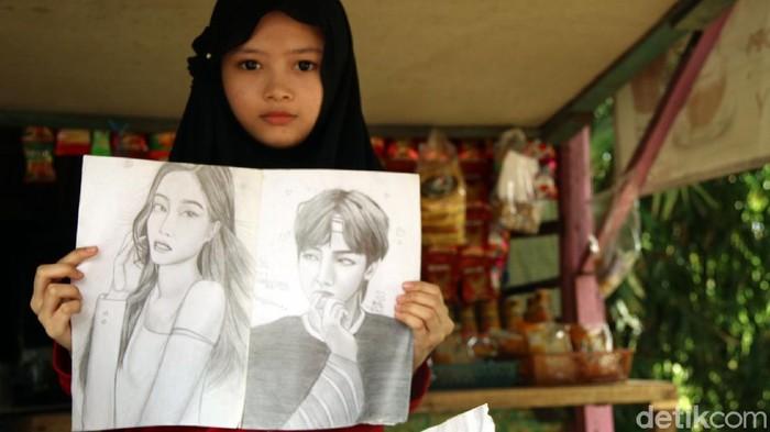 Gadis cantik asal Sukabumi jago membuat sketsa wajah meski putus sekolah