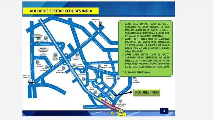 Skema pengalihan arus lalu lintas di sekitar Kedubes India