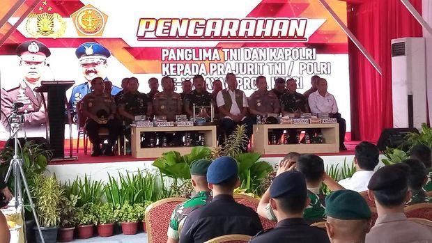 Acara pengarahan Panglima-Kapolri di Pulau Galang, Minggu (8/3/2020).