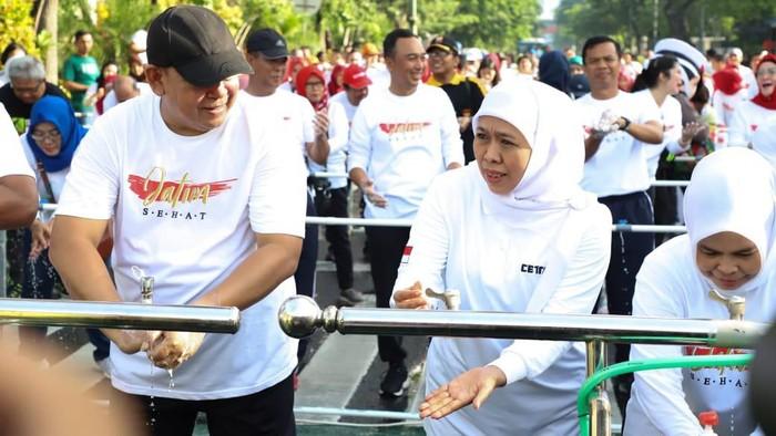 Gubernur Khofifah Hadapi Virus Corona dalam Gerakan Jatim Sehat