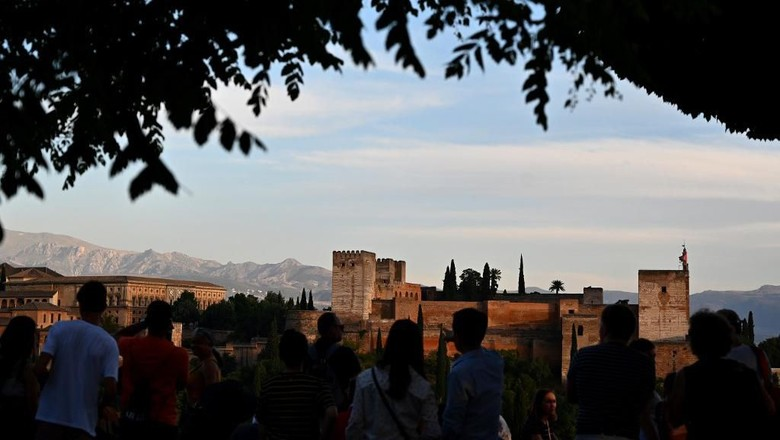 View taken of the Alhambra in Granada on June 26, 2019. (Photo by GABRIEL BOUYS / AFP)