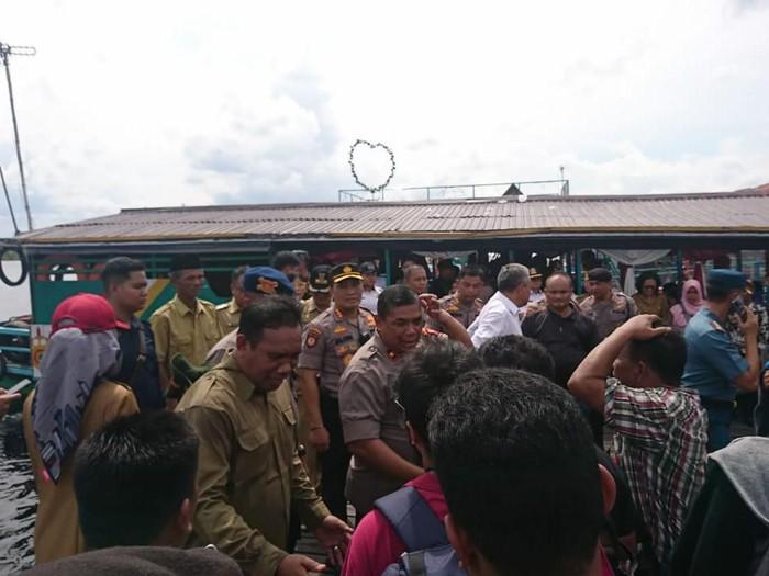 Suasana di Sungai Sebangau, Palangka Raya, lokasi kecelakan speedboat Paspampres.