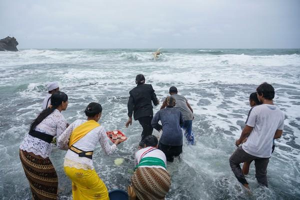 Usai itu, mereka semua melarung sesaji saat upacara Melasti di Pantai Ngobaran, Saptosari, Gunungkidul, DI Yogyakarta.