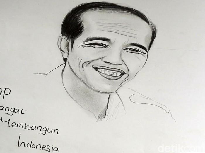 Febby Lissa Ayu Aryanti (17), gadis jago gambar asal Sukabumi tak bisa melanjutkan sekolah karena tidak ada biaya kedua orang tuanya. Saat disambangi utusan Presiden Jokowi, Febby sempat melukis orang nomor satu di Indonesia tersebut. Begini lukisannya.