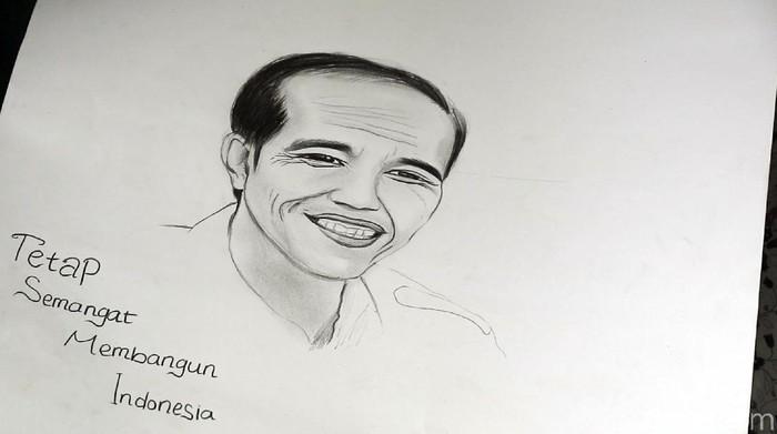 Febby, gadis cantik jago gambar kasih oleh-oleh sketsa wajah untuk Jokowi