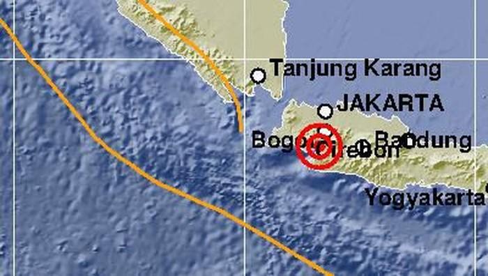 Lokasi gempa Kabupaten Sukabumi, Jawa Barat.
