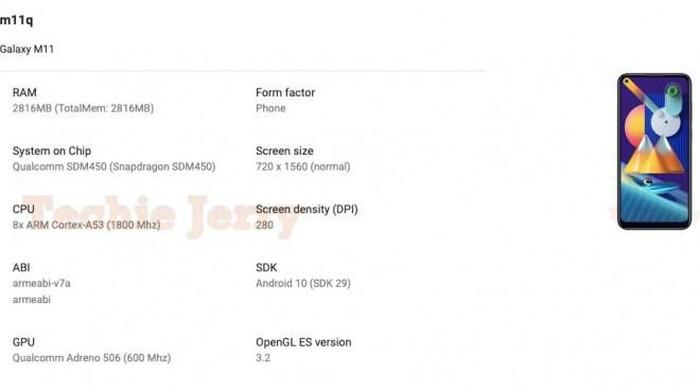 Bocoran Spek Samsung Galaxy M11 Muncul