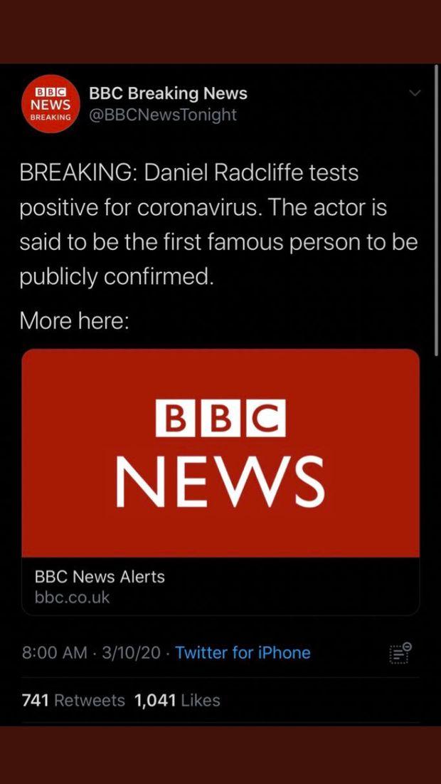 Warganet Heboh Daniel Radcliffe 'Harry Potter' Positif Virus Corona, Ternyata Hoax