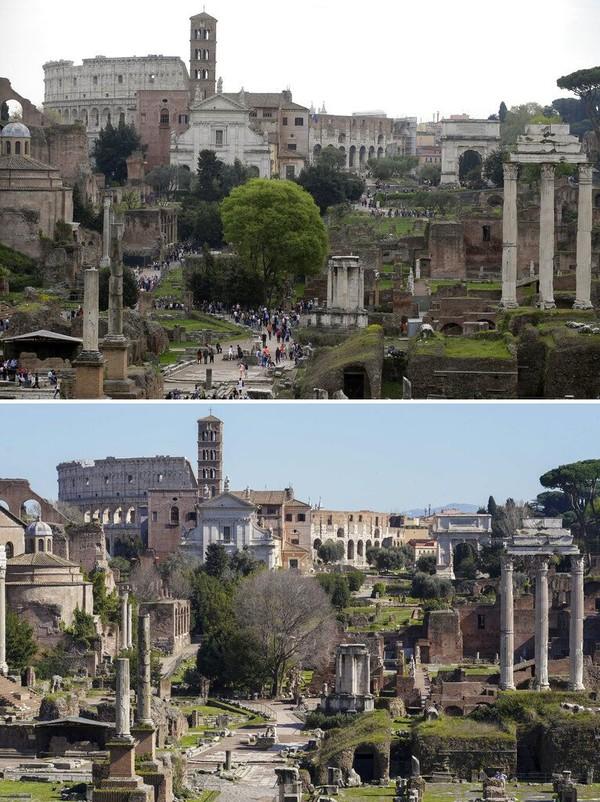 Salah satu situs bersejarah di kawasan Kota Roma ini juga turut terdampak penyebaran virus corona di Italia. Suasana di bangunan bersejarah itu tampak ramai dikunjungi pengunjung pada April 2015 silam, namun kini area tersebut tampak sunyi saat dipotret pada Rabu (11/3/2020) waktu setempat. AP Photo/Gregorio Borgia/Andrew Medichini.