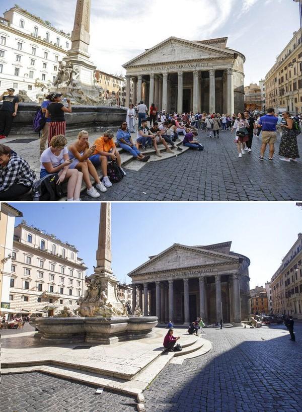 Pantheon yang berada di Kota Roma, juga jadi salah satu objek wisata populer di Italia. Hal itu terlihat saat sejumlah wisatawan berkunjung ke objek wisata itu pada Juni 2019 lalu. Namun, kasus virus corona yang kini merebak di Italia membuat Pantheon tak banyak dikunjungi oleh wisatawan. AP Photo/Gregorio Borgia, Andrew Medichini.