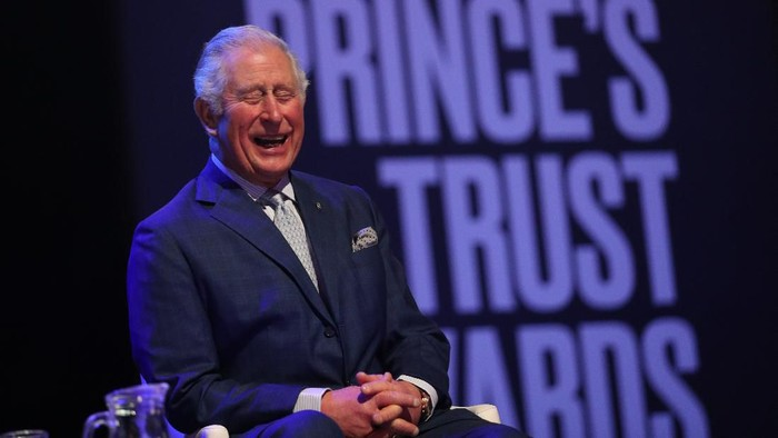 LONDON, ENGLAND - MARCH 11: Prince Charles, Prince of Wales laughs on stage as he attends the Princes Trust And TK Maxx & Homesense Awards at London Palladium on March 11, 2020 in London, England. (Photo by Yui Mok - WPA Pool/Getty Images)