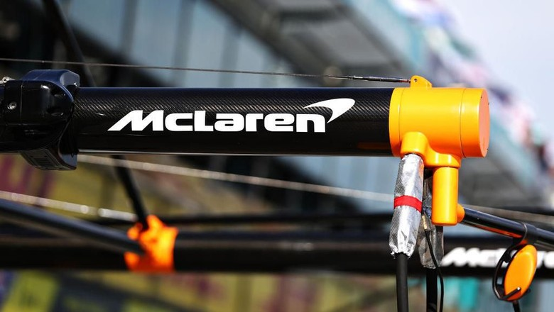 MELBOURNE, AUSTRALIA - MARCH 12: McLaren pitstop equipment is pictured in the Pitlane during previews ahead of the F1 Grand Prix of Australia at Melbourne Grand Prix Circuit on March 12, 2020 in Melbourne, Australia. (Photo by Robert Cianflone/Getty Images)
