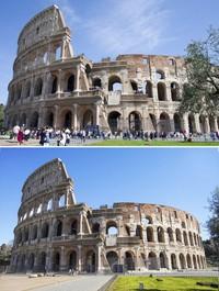 Pemandangan kontras juga terlihat di Colosseum, Roma, Italia. Sejumlah wisatawan tampak mendatangi bangunan prasejarah itu pada April 2018 lalu. Namun, kini menyusul kebijakan pencegahan penyebaran virus corona yang dilakukan oleh pemerintah Italia, suasana di sekitar Colosseum tampak sepi saat dipotret pada Rabu (11/3/2020) waktu setempat. AP Photo/Virginia Mayo, Andrew Medichini.
