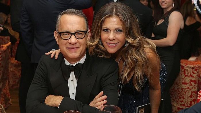 HOLLYWOOD, CALIFORNIA - MARCH 29: Rita Wilson and Tom Hanks embrace as Wilson is honored with a star on the Hollywood Walk of Fame on March 29, 2019 in Hollywood, California. (Photo by Frazer Harrison/Getty Images)
