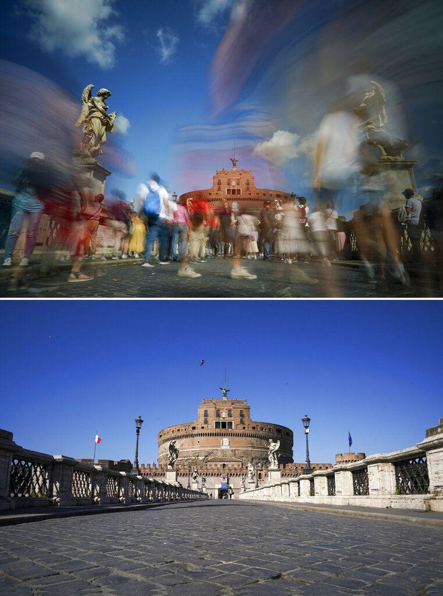 Lebih dari 12 orang di Italia diketahui terinfeksi virus corona. Sejumlah kawasan yang biasanya ramai pengunjung kini menjadi sepi. Berikut foto before-afternya
