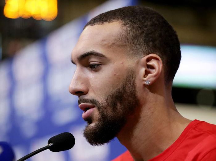 CHICAGO, ILLINOIS - FEBRUARY 15: Rudy Gobert of the Utah Jazz speaks to the media during 2020 NBA All-Star - Practice & Media Day at Wintrust Arena on February 15, 2020 in Chicago, Illinois. NOTE TO USER: User expressly acknowledges and agrees that, by downloading and or using this photograph, User is consenting to the terms and conditions of the Getty Images License Agreement. (Photo by Jonathan Daniel/Getty Images)