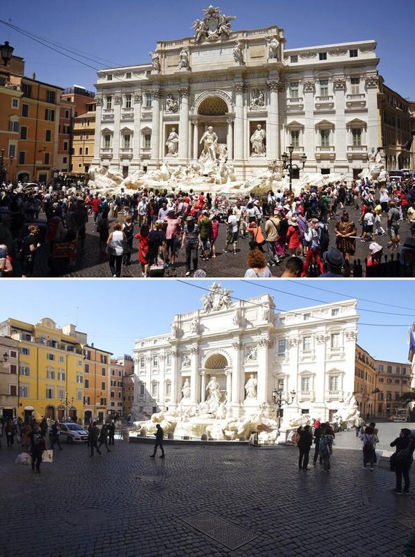 Air mancur Trevi juga jadi salah satu objek wisata populer di Kota Roma, hal itu terlihat seperti foto yang diabadikan pada bulan Juni tahun 2017 silam. Namun, kini suasana di area sekitar air mancur Trevi tak banyak didatangi oleh warga maupun wisatawan saat dipotret pada Rabu (11/3/2020) waktu setempat. AP Photo/Andrew Medichini.
