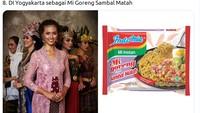 Baju daerah Ervina Nathasia dari Yogyakarta dicocokkan dengan mi goreng sambel matah. (Twitter @mmaryasir)