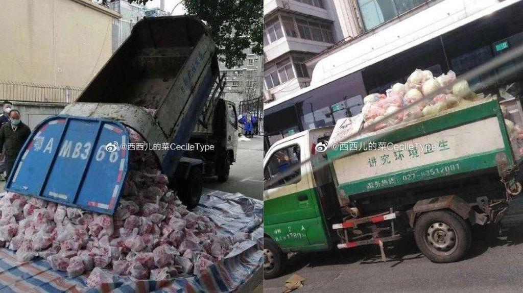 Dikritik Keras! Pejabat Antar Bahan Makanan dengan Truk Sampah di Wuhan