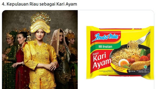 Pakaian adat finalis Putri Indonesia dari Kepulauan Riau Adesti Apriyani disamakan dengan mi goreng kari ayam.(Twitter @mmaryasir)