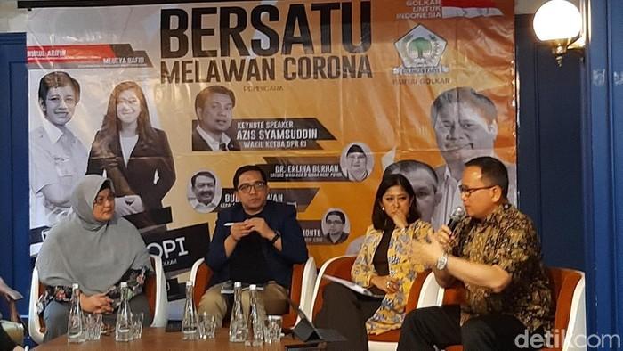 Diskusi Bersatu Melawan Corona di Little League, Kebayoran Baru, Jaksel (Nur Azizah Rizki Astuti/detikcom)