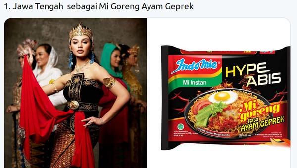 Kostum finalis Putri Indonesia dari Jawa Tengah, Jihane Almira, dengan paduan warna merah dan hitam disebut mirip dengan mi goreng rasa ayam geprek. Twitter @mmaryasir