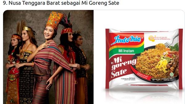 Pakaian tenun khas Nusa Tenggara Barat (NTB) yang dikenakan Shalsabila Lestari Putri Suteja dicocokkan dengan mi goreng sate. (Twitter @mmaryasir)