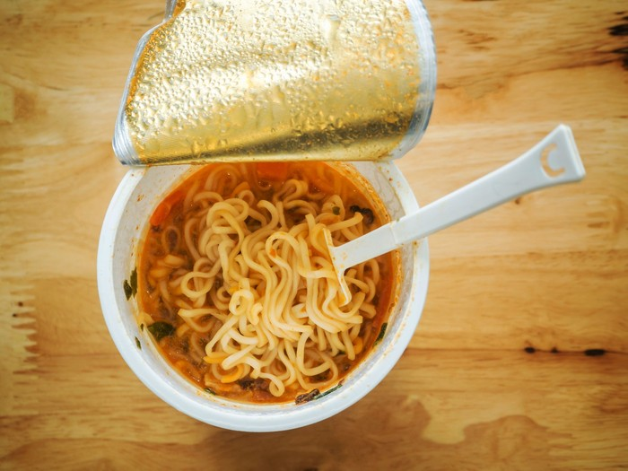 Top view of cup of instant noodle ready to eat
