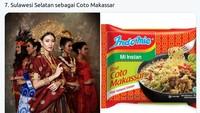 Busana Sulawesi Selatan yang dikenakan Karina Pricilla Widjaja disamakan dengan Indomie rasa coto Makassar (Twitter @mmaryasir)