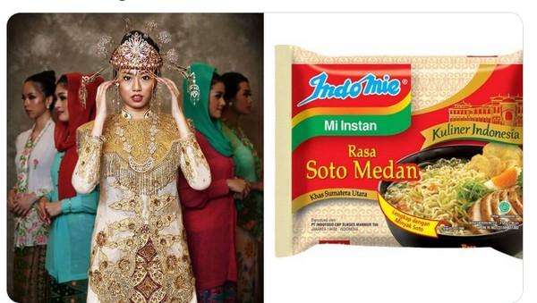 Ratu Luckki Nitibaskara dari Banten mengenakan pakaian adat keemasan dan dicocokkan dengan warna bungkus Indomie soto medan.(Twitter @mmaryasir)