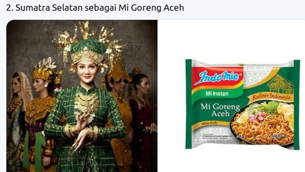 Pakaian adat finalis Putri Indonesia dari Sumatera Selatan Widya Ayu Pratami disamakan dengan mi goreng aceh. (Twitter @mmaryasir)