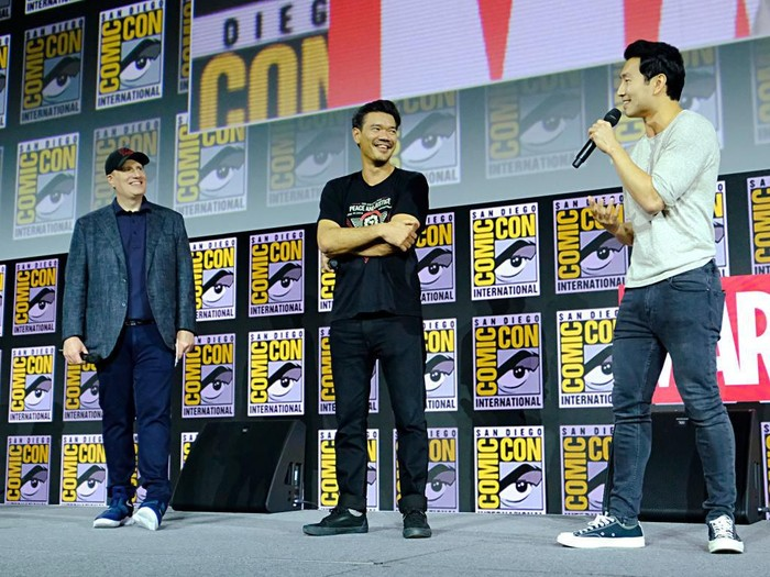SAN DIEGO, CALIFORNIA - JULY 20: (L-R) President of Marvel Studios Kevin Feige, Director Destin Daniel Cretton and Simu Liu of Marvel Studios Shang-Chi and the Legend of the Ten Rings at the San Diego Comic-Con International 2019 Marvel Studios Panel in Hall H on July 20, 2019 in San Diego, California. (Photo by Alberto E. Rodriguez/Getty Images for Disney)