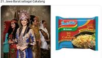 Pakaian adat finalis Putri Indonesia dari Jabar Jeanatasia Kurniasari disamakan dengan varian mi goreng cakalang. (Twitter @mmaryasir)